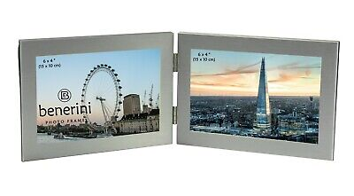 Double Photo Frame 6 X 4 Hold 2 Picture Silver Twin Landscape Folding Frame Gift • 11.99£