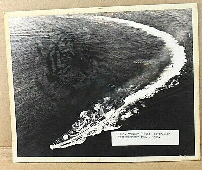 HMS Tiger Black & White Photograph 10x8  Tiger In Image Mounted Info Sticker 43 • 9.99£