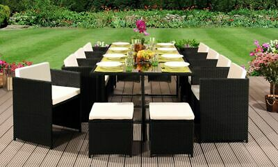 13 Piece Low Back Rattan Garden Cube Set Chairs Sofa Table Outdoor Patio • 999.99£