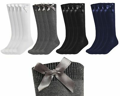 3 Pairs Girls Fashion Cotton Knee High Children Kids School Socks With Bow Size • 5.99£