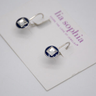 $ CDN9.07 • Buy Lia Sophia Signed Jewelry Silver Tone Cut Crystals Blue Enamel Button Earrings