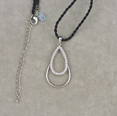 $ CDN9.69 • Buy 19'' Lia Sophia Signed Jewelry Twisted Rope Chain Necklace Cut Crystal Pendant
