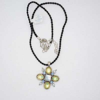 $ CDN9.69 • Buy Lia Sophia Jewelry Black Rope Chain Cut Crystals Pearl Cross Pendant Necklace