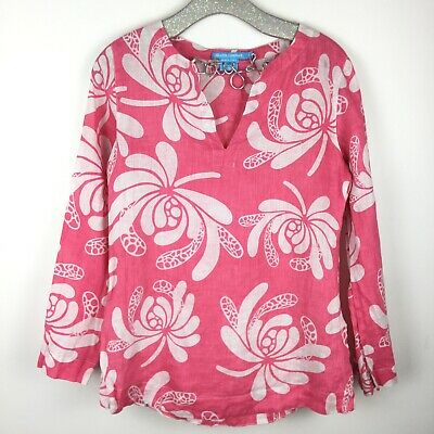 $29 • Buy Island Company Linen Beach Tunic Pink Floral Small