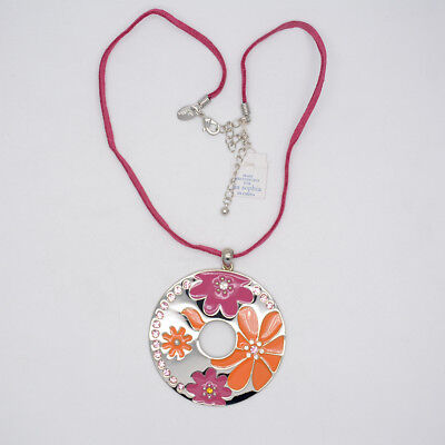 $ CDN10.44 • Buy Lia Sophia Jewelry Silver Tone Large Circle Enamel Flower Pendant Necklace Chain