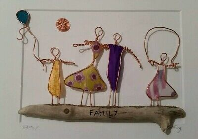 £25 • Buy Handmade Wire, Decoupage Paper And Driftwood Framed Wall Art Picture Family