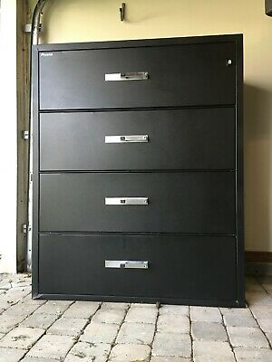Phoenix Lateral 44  4-Drawer Fireproof File Cabinet Black (44 X54 X24 ) W/ Key • 299$