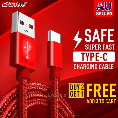AU3.99 • Buy Braided USB-C Type C Data& Charger Cable For Samsung S10 S9 NOTE A50 A70 EASTele