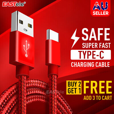 AU4.99 • Buy Braided USB-C Type C Data& Charger Cable For Samsung S20 S10 S9 NOTE A50 EASTele