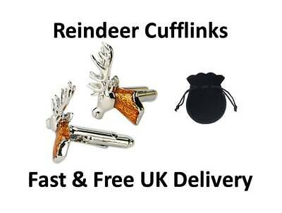 Reindeer Cufflinks Stag Head Christmas Formal Novelty Smart Cuff Links UK  • 8.97£