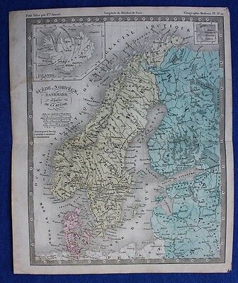 Original Antique Map SWEDEN, NORWAY, DENMARK, ICELAND, BALTIC STATES, C.1855 • 15£