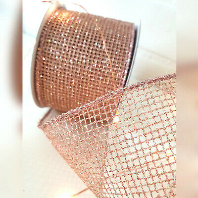 Wired Pink Rose Gold Christmas Ribbon Mesh Web Xmas Tree Sparkly Glitter Bow • 1.99£
