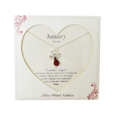 Guardian Angel January Birthstone Necklace With Gem Stone Sentimental Gift Idea • 7.99£