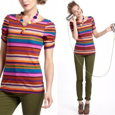 $ CDN16.91 • Buy Anthropologie POSTMARK Here & There Tee Rainbow Colorful Striped, Size Small S