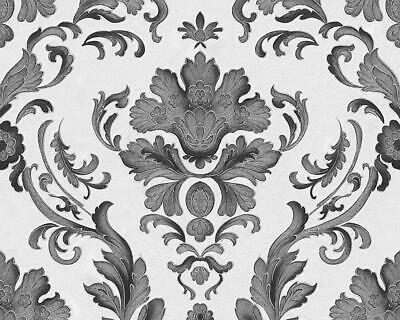 Ornate Floral Damask Wallpaper Textured Metallic White Black Silver AS Creation • 12.95£