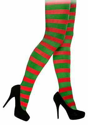 Red & Green Striped Tight Elf Elves Christmas Fancy Dress Adult Accessory • 2.99£