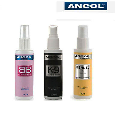 Ancol Dog Puppy Cologne Perfume Deodorant Spray Baby Powder, Kennel 5, K9 Black • 9.99£