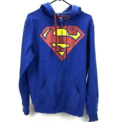 Superman Mens Small Blue Hooded Zip Up Sweater  • 17.67£