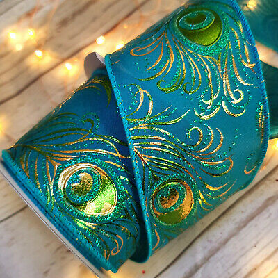 Luxury Gold Embossed Wired Peacock Christmas Ribbon Tree Glitter Blue Green Gold • 2.39£