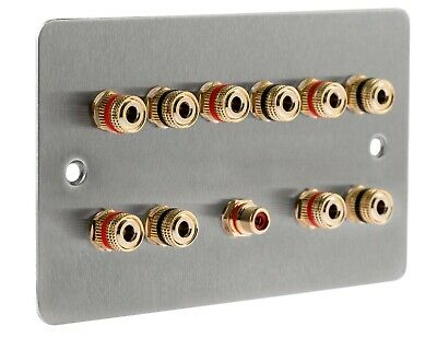 £31.93 • Buy 5.1 Speaker Audio Brushed Stainless Steel Flat Wall Face Plate Non Solder