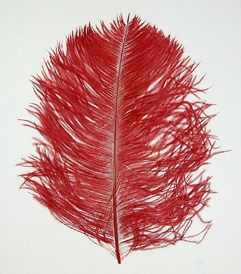 $14.99 • Buy 2 PCs OSTRICH PLUMES 8 -18  FEATHERS COLOR : BLOOD RED For Hats/Bridal