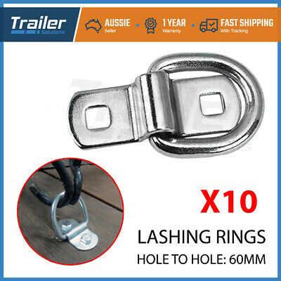 AU34.49 • Buy 10 X Lashing D Ring Zinc Plated Tie Down Points Trailer Centre Hole To Hole 60mm