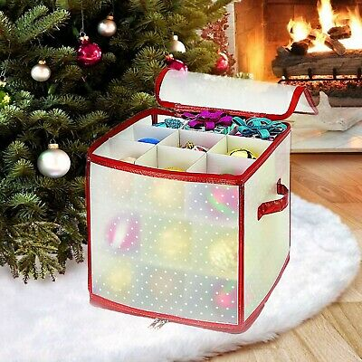 Christmas Tree Baubles Storage Box Ornament Xmas Bag Up To 27 Large Balls  • 5.99£