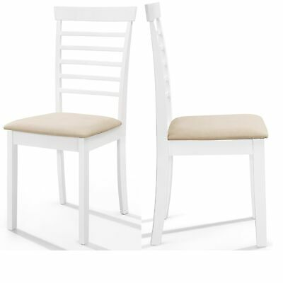 £94.99 • Buy 2 X White Painted Wood Dining Chairs | Wooden Slate Back Kitchen Seat Pair