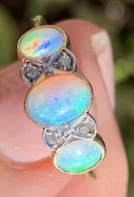 $750 • Buy Vintage 18k Solid Yellow Gold Opals And Diamonds Gypsy Ring