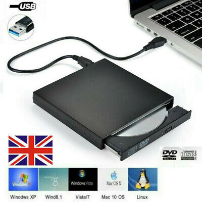 Portable USB External DVD/CD RW Drive Disc Burner Reader For Windows Laptop PC • 11.89£