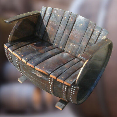 £219.99 • Buy Recycled Solid Oak Whiskey Cask Garden Seat   Barrel Bench   Lovers Seat Vintage