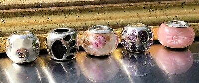 $ CDN56 • Buy Persona Sterling Silver 5 Charms Lot Pink Flowers Dog Paw Rhinestones & Enamel