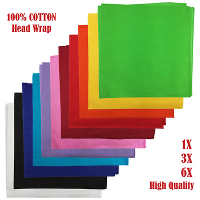 AU5.99 • Buy BANDANA Plain 100% COTTON Head Wrap Durag Premium Summer Scarf Headwrap Mask