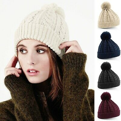 £6.59 • Buy Cable Knit Beanie Hat Thermal Winter Bobble Hat Mens Womens Warm Beanie Ski Snow