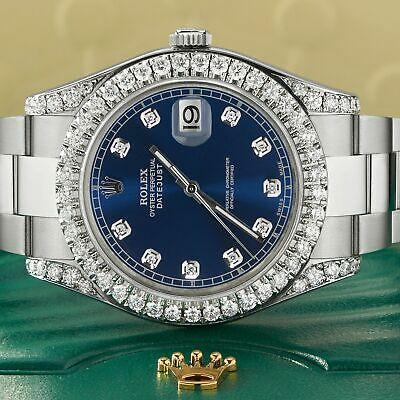 $ CDN15467.67 • Buy Rolex Datejust II 41mm Watch 4.5CT Diamond Bezel/Lugs/Royal Blue Dial Box Papers