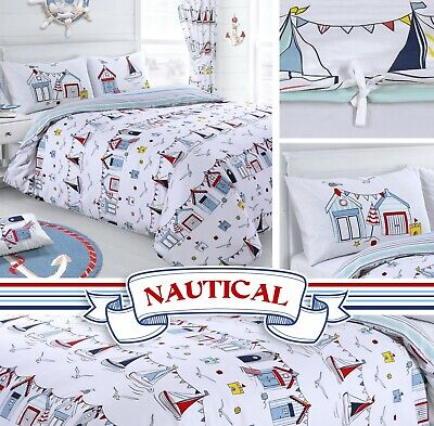 Nautical Seaside Beach Hut Sail Reversible Duvet Cover & Pillowcase Bedding Set  • 12.45£