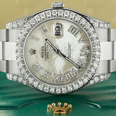 $ CDN15115.37 • Buy Rolex Datejust II Steel 41mm Watch 4.5CT Diamond Bezel/Lugs/White MOP Roman Dial