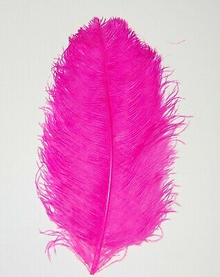 $14.99 • Buy 1 SHOCKING PINK Ostrich FEATHER 23-28  Full Wing PLUMES; Bridal/Wedding