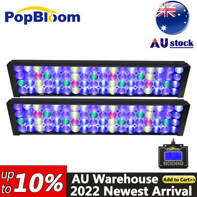 AU386.99 • Buy 2PC PopBloom Marine Led Aquarium Light Full Spectrum For 48  4ft Reef Coral Tank