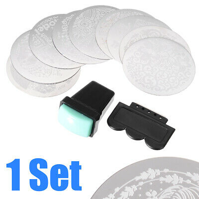 $3.39 • Buy 10pcs Manicure Nail Art Stencil Stamping Template Plates DIY Tool + Stamper