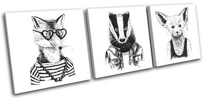 Hipster Badger Fennec Fox Vintage TREBLE CANVAS WALL ART Picture Print • 39.99£