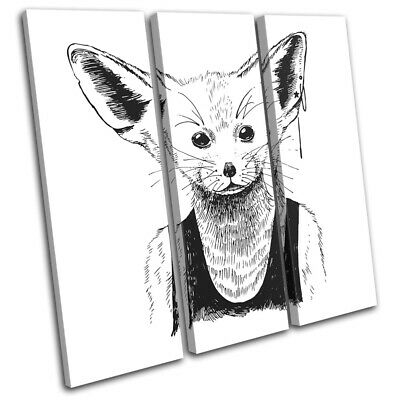 Hipster Animals Fennec Fox Vintage TREBLE CANVAS WALL ART Picture Print • 44.99£