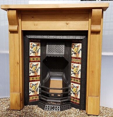 Restored Compact Antique Cast Iron Tiled Insert & Victorian Style Pine Surround • 695£