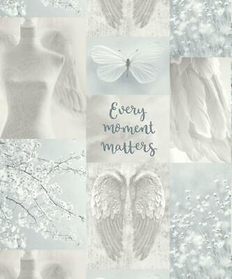 Daydreamer Glitter Wallpaper Silver Grey Angel Wings Floral Typography Arthouse • 13.45£