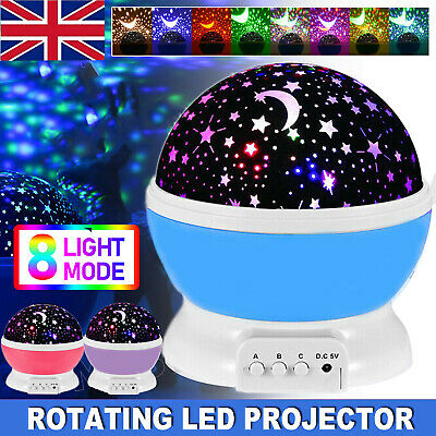 Rotation LED Night Light Projector Kids Ceiling Star Sky Moon Baby Bedroom Gift • 11.69£