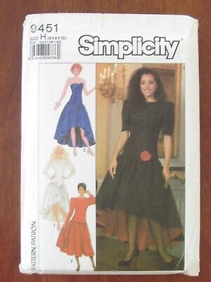 Simplicity Pattern - 9451 Ladies Dress Dropped Waist High-low Hemline 6-10 Uncut • 6.39£