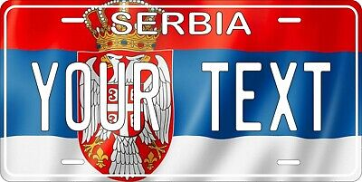 Serbia Flag Wave License Plate Personalized Car Auto Bike Motorcycle Custom • 12.09£