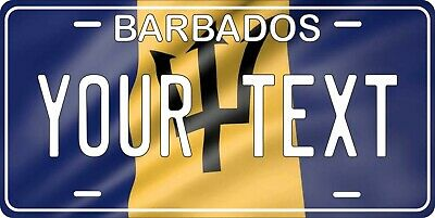 Barbados Flag Wave License Plate Personalized Car Auto Bike Motorcycle Custom  • 12.09£