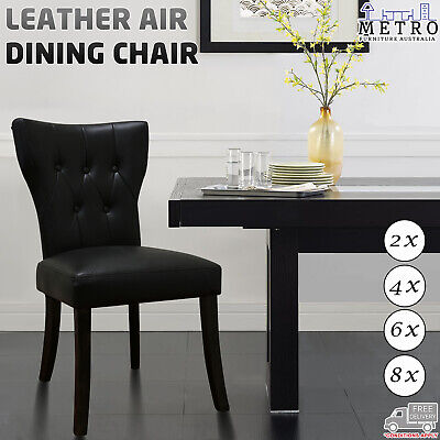 AU1107 • Buy 2,4,6,8 New Luxury Leather Air Solid Timber Legs Dining Chair, Charcoal
