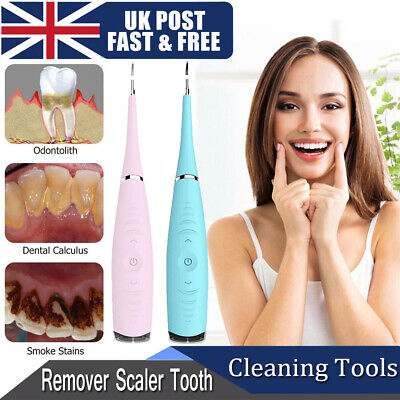 Electric Sonic Dental Scaler Tartar Calculus Plaque Remover Teeth Stains Cleaner • 12.99£